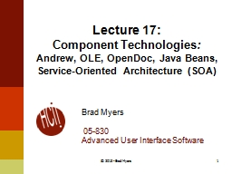 Lecture  18: Component Technologies
