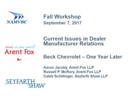 Current  Issues  in  Dealer Manufacturer