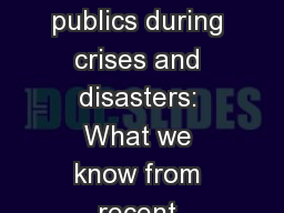 Twitter use by affected publics during crises and disasters: What we know from recent research and