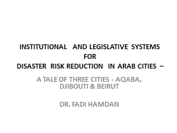 Institutional and Legislative systems FOR