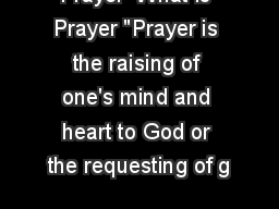 Prayer  What is Prayer