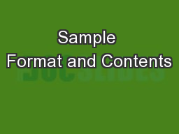 Sample Format and Contents PowerPoint PPT Presentation