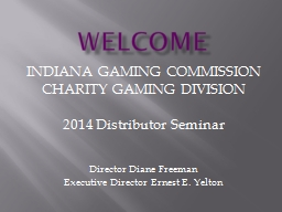 WELCOME INDIANA GAMING COMMISSION