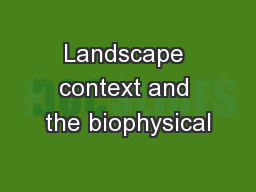 Landscape context and the biophysical