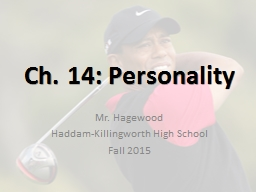 Ch. 14: Personality Haddam-Killingworth