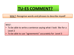 WALT :  Recognise  words and phrases to describe myself PowerPoint PPT Presentation