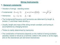 String Instruments General comments