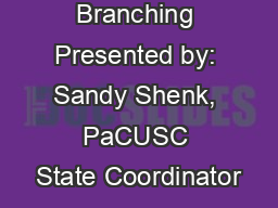 Shared Branching Presented by: Sandy Shenk, PaCUSC State Coordinator