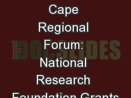 Western Cape Regional Forum: National Research Foundation Grants