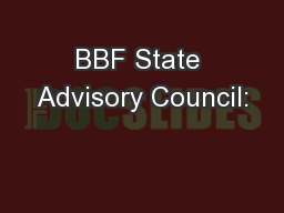BBF State Advisory Council: