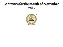 Activities for the month of November 2017