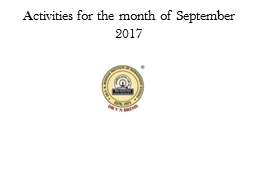 Activities for the month of September 2017