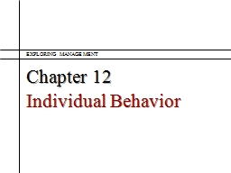 Chapter 12 Individual Behavior PowerPoint PPT Presentation