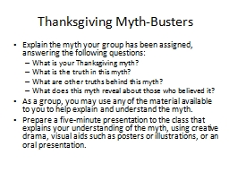 Thanksgiving Myth-Busters