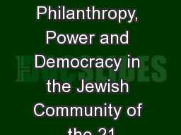 Ruderman Summit on Philanthropy, Power and Democracy in the Jewish Community of the 21 PowerPoint PPT Presentation