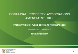 COMMUNAL PROPERTY ASSOCIATIONS AMENDMENT BILL