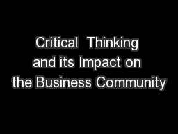 Critical  Thinking and its Impact on the Business Community