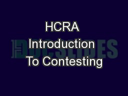 HCRA Introduction To Contesting