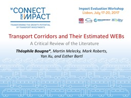 Transport Corridors and Their Estimated WEBs PowerPoint PPT Presentation
