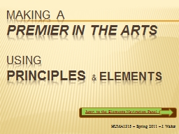 Making a Premier IN the Arts PowerPoint PPT Presentation