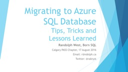 Migrating to Azure SQL Database