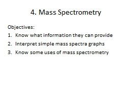 4. Mass Spectrometry Objectives: PowerPoint PPT Presentation