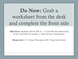 Do Now:  Grab a worksheet from the desk and complete the front side