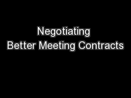 Negotiating Better Meeting Contracts