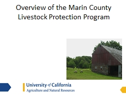 Overview of the Marin County Livestock Protection Program