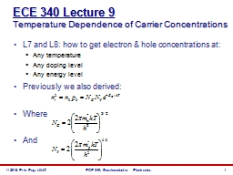 ECE 340 Lecture 9 Temperature Dependence of Carrier Concentrations