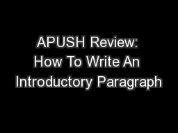 APUSH Review: How To Write An Introductory Paragraph