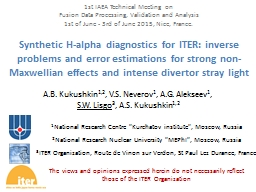 Synthetic H-alpha diagnostics for ITER: inverse problems and error estimations for strong non-
