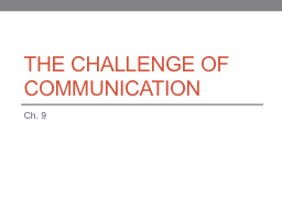 The Challenge of Communication PowerPoint PPT Presentation