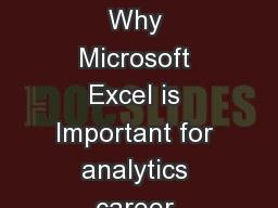 5 Reasons Why Microsoft Excel is Important for analytics career