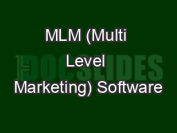 MLM (Multi Level Marketing) Software