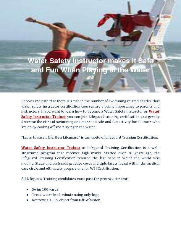 Lifeguard Training Certification