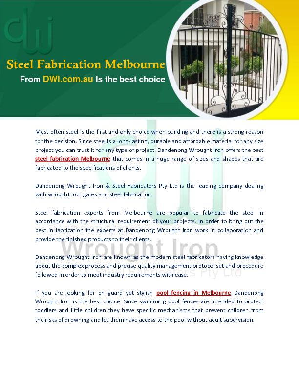 Steel Fabrication Melbourne from DWI.com.au