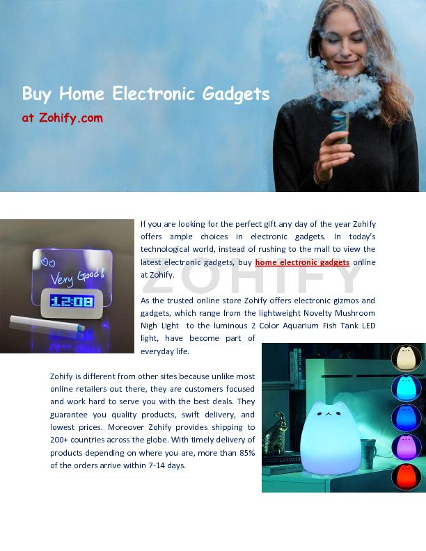 Buy Home Electronic Gadgets at Zohify.com