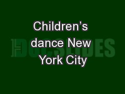 Children's dance New York City