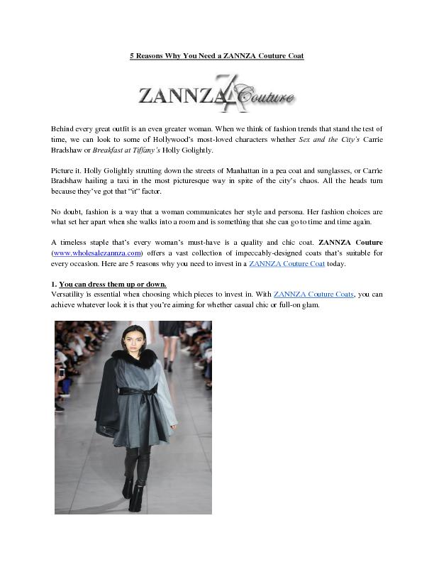 5 Reasons Why You Need a ZANNZA Couture Coat