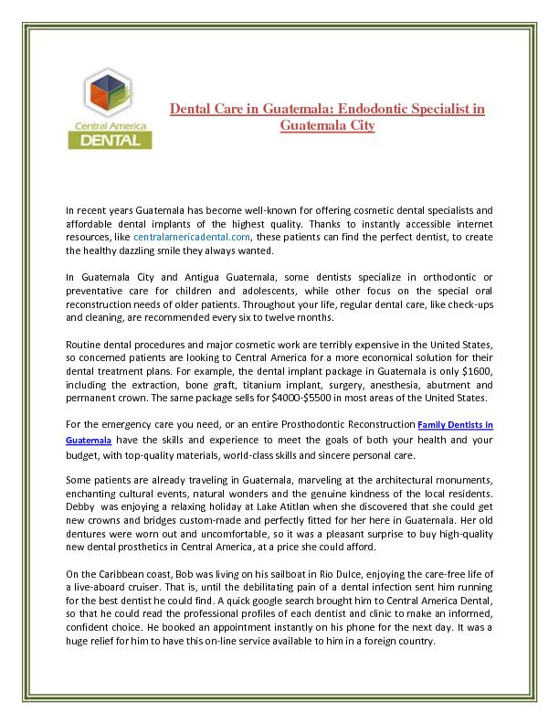 Dental Care in Guatemala: Endodontic Specialist in Guatemala City PDF document - DocSlides