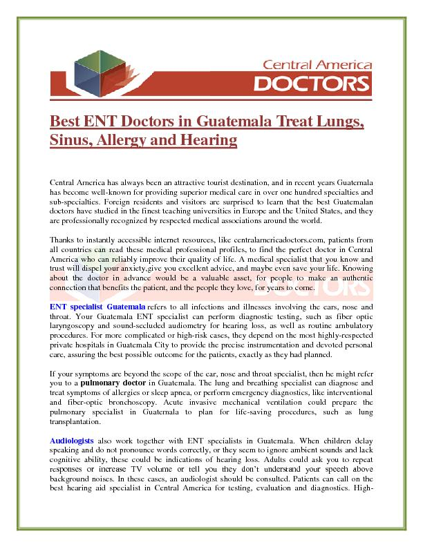 Best ENT Doctors in Guatemala Treat Lungs, Sinus, Allergy and Hearing