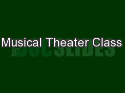 Kids Musical Theater Class NYC