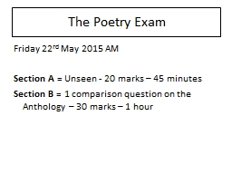 Which poem? Why? The Poetry Exam PowerPoint PPT Presentation