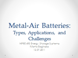 Metal-Air Batteries:  Types, Applications, and Challenges