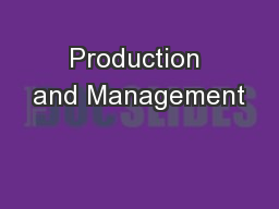 Production and Management
