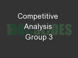 Competitive Analysis Group 3