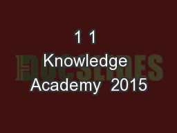 1 1 Knowledge Academy  2015