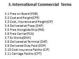 3. International Commercial Terms