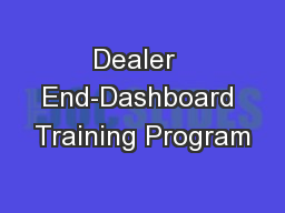 Dealer  End-Dashboard Training Program